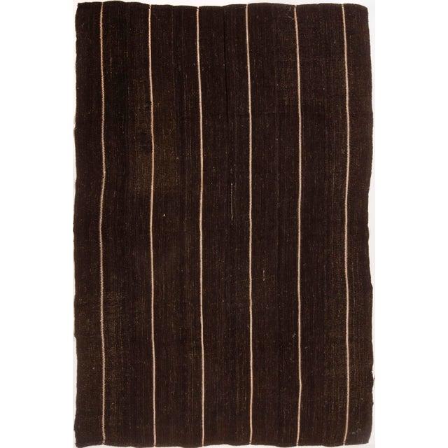 Vintage Mid-Century Brown Striped Kilim Wool Rug - 6′9″ × 10′ For Sale In New York - Image 6 of 6