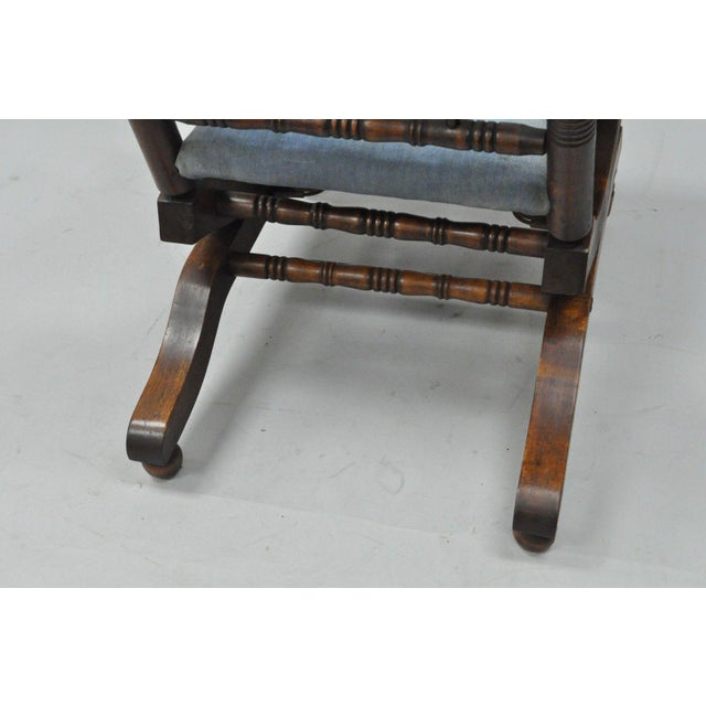 Children's Antique Eastlake Victorian Turned Walnut Blue Platform Rocking Chair For Sale - Image 3 of 11