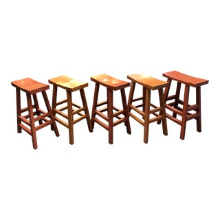 Chinese Lacquered Bar Stools - Set of 5