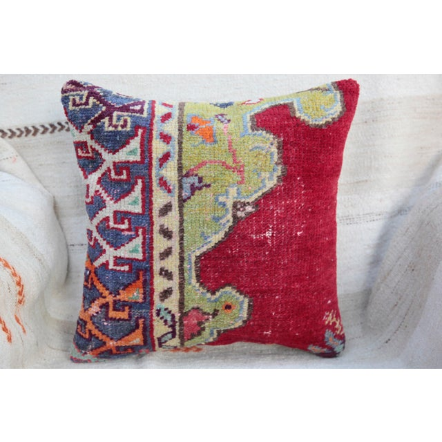 Vintage Turkish Red Kilim Throw Pillow For Sale In Baltimore - Image 6 of 6