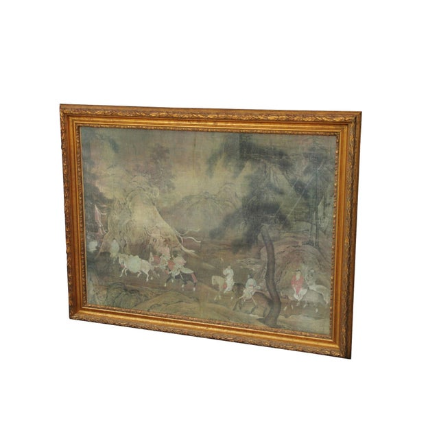 An art work print in a gilt wood frame. The image depicts an oriental scene in a forest surrounded by hills and bonsai...