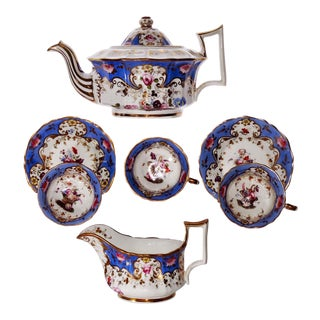 Antique Coalport Porcelain Teapot Creamer Cups Saucers Handpainted Sky Blue 1825 - Set of 7 For Sale