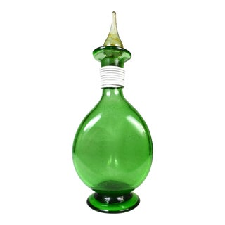 Vintage Hand Blown Green Glass Three Sided Wine Decanter Carafe With Stopper For Sale