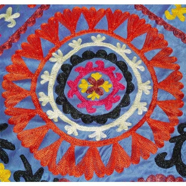 Uzbek Embroidered Blue Suzani - Image 3 of 3