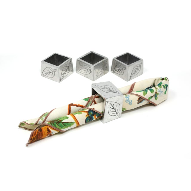 2000 - 2009 Square Napkin Holders With Leaf Design - Set of 4 For Sale - Image 5 of 7