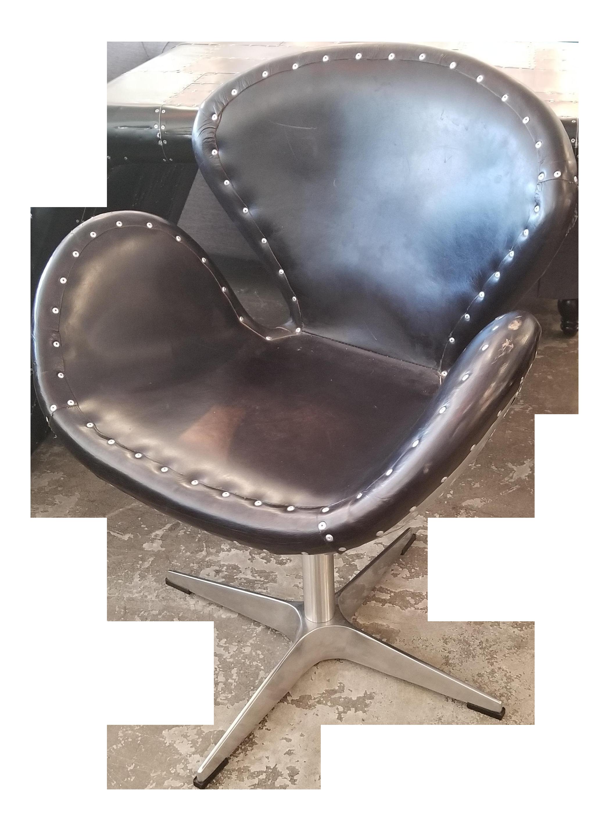 Industrial office chair Modern Restoration Hardware Metal Black Leather Aviator Office Chair Chairish Vintage Used Industrial Office Chairs Chairish