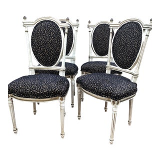 Painted French Chairs - Set of 4 For Sale
