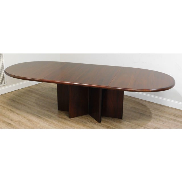 "High Quality Rosewood Finished Teak Wood Oval Dining Table with 2 Table Leaves Store Item#: 25043 H: 28.75"" x W: 71.25"" x..."