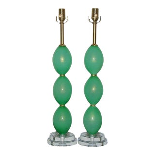 Vintage Murano Glass Egg Table Lamps Green For Sale
