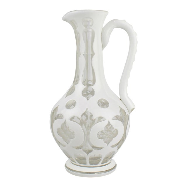 19th Century Bohemian White Cut to Clear Overlay Glass Pitcher or Ewer For Sale