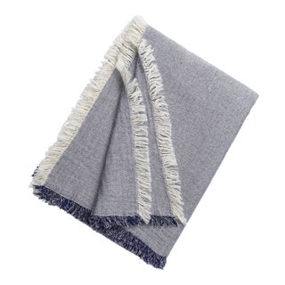 Brentwood Cotton/Wool Throw Blanket in Indigo For Sale