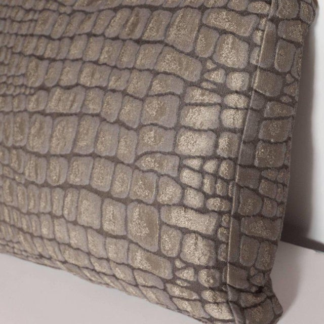 Pair of Gauffraged Crocodile Fabric Pillows in Metallic Antique Bronze Hue For Sale In New York - Image 6 of 8