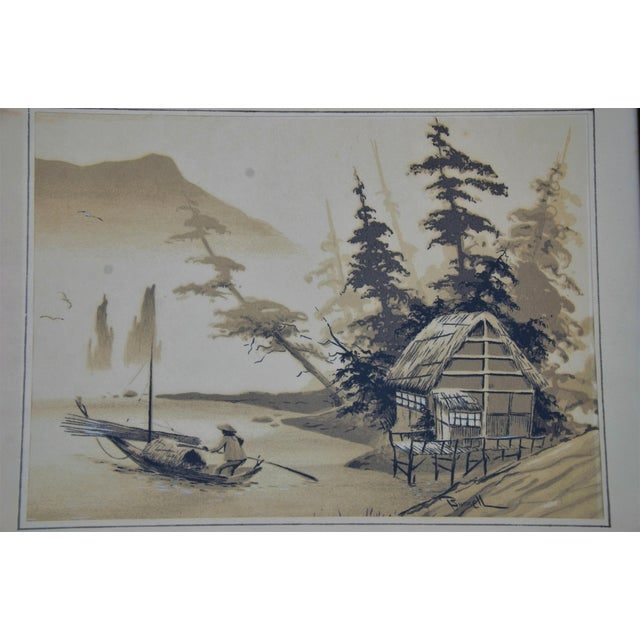 1960s Vintage Mid-Century James Bunnell Chinoiserie Ink Prints - A Pair For Sale - Image 5 of 13