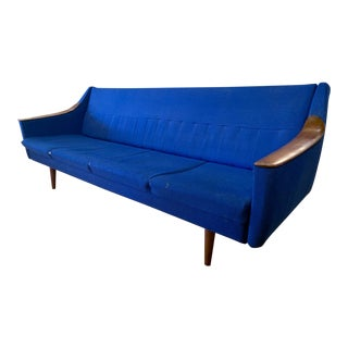 Mid Century Danish Modern Teak Convertible Sofa For Sale