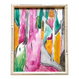 Original Vintage Abstract Watercolor Painting Framed For Sale