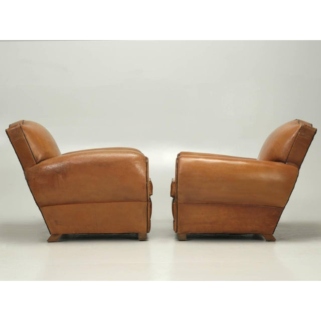 French Fully Restored Club Chairs in Original Leather - a pair For Sale - Image 10 of 10