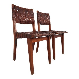 Early Woven Leather Side Chairs Model No. 666 by Jens Risom for Knoll, 1940s - a Pair For Sale