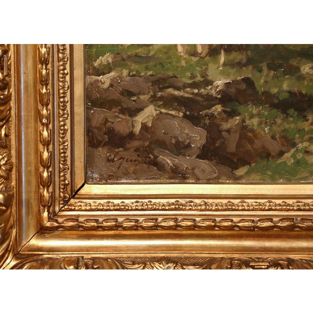 Tan 19th Century French Sheep Paintings in Gilt Frames Signed C. Quinton - a Pair For Sale - Image 8 of 11