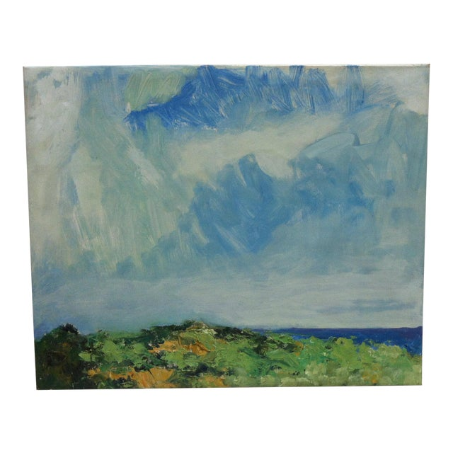 "1960s Vintage Frederick McDuff ""Blue Sky"" Signed Painting on Canvas For Sale"