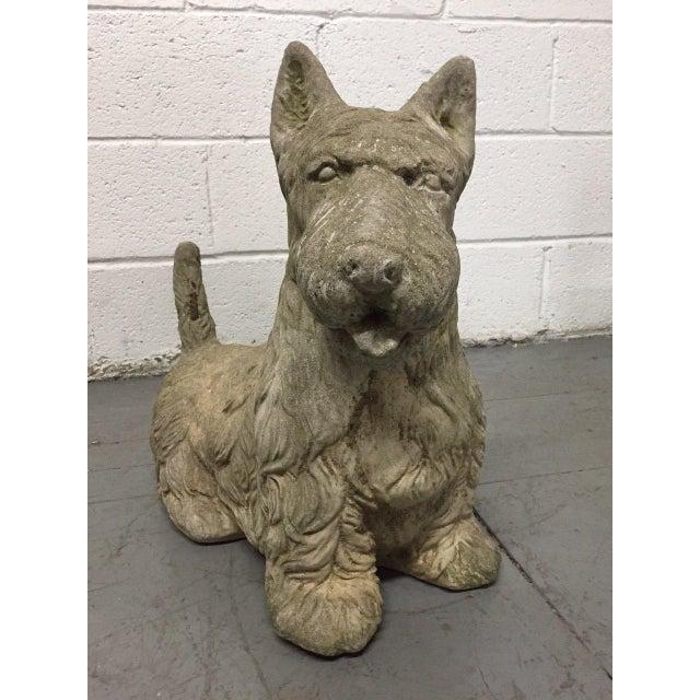 Vintage cement Scottish terrier.