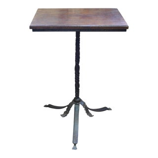 Neo-Gothic Hand Wrought Iron Pedestal Base Walnut Top Side Table or Stand For Sale