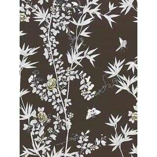 Sample, Scalamandre Jardin De Chine, Espresso Wallpaper For Sale