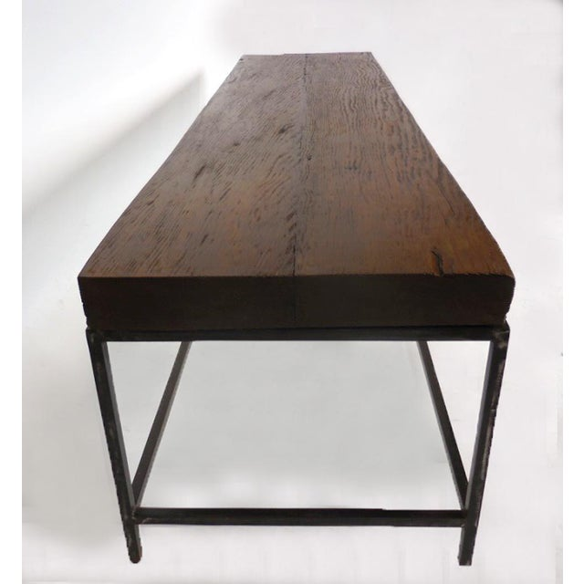 Iron Customizable Reclaimed Wood Modern Clean Line Coffee Table or Bench with Iron Base For Sale - Image 7 of 9