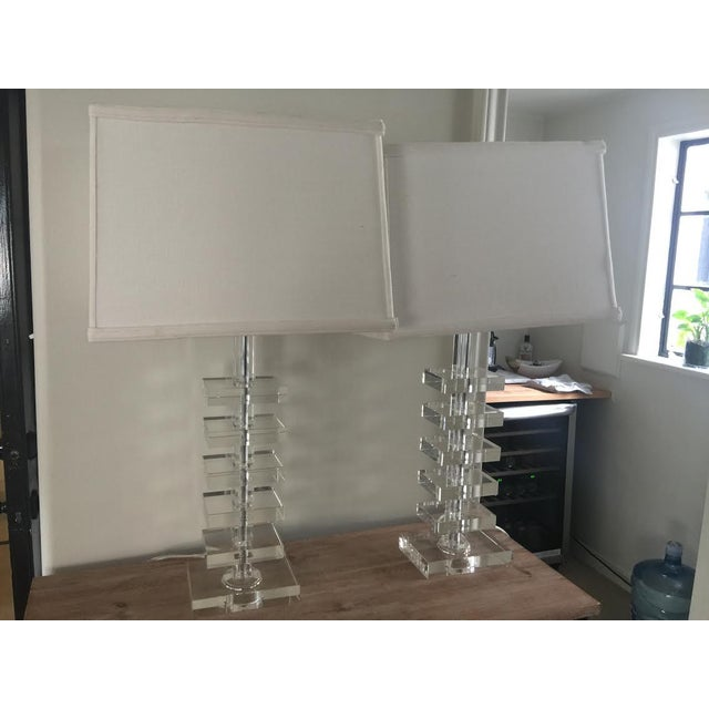 Glass Square Column Table Lamps - A Pair - Image 6 of 8