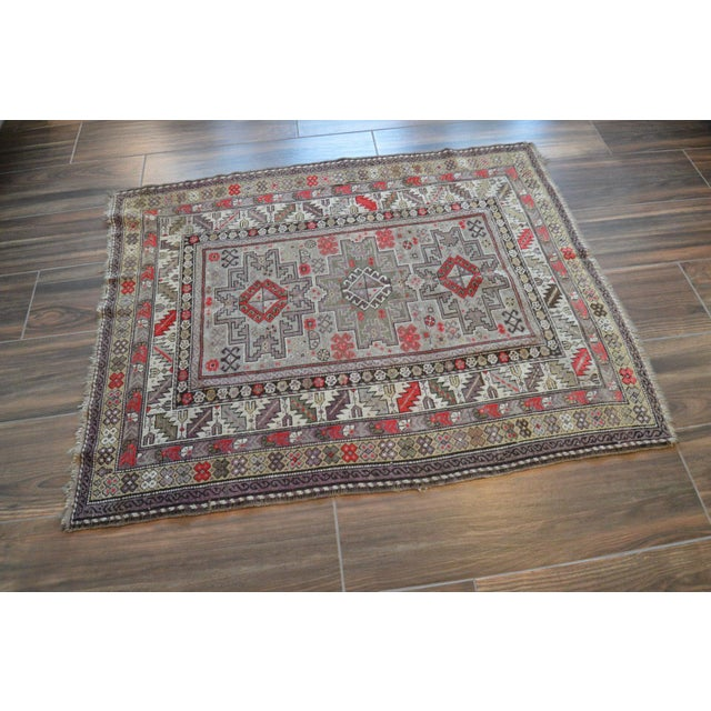 Distressed Vintage Star Kazak Rug - 3′9″ × 5′ - Image 3 of 9