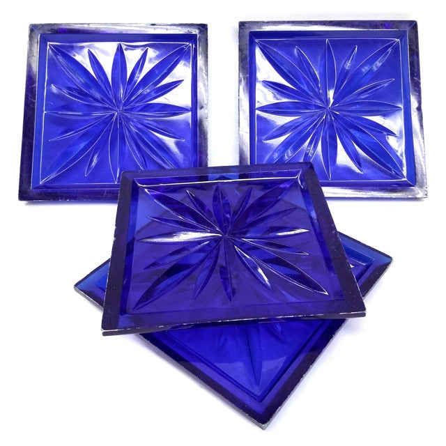 Mid Century Cobalt Blue Cut Lucite Coasters - 4 For Sale In Boston - Image 6 of 8