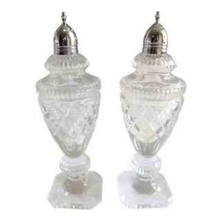 Mid-Century Cut Glass and Silver Salt & Pepper Shakers - a Pair For Sale