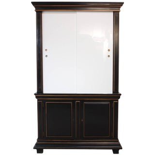 1970s Ebonized Armoire With Milk Glass Doors For Sale