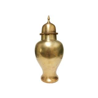 Vintage Solid Brass Urn / Lidded Jar For Sale