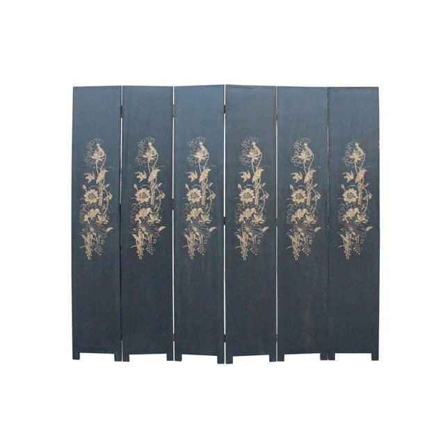 Chinese Golden Oriental Lotus Flower Birds Graphic Screen - Image 6 of 10