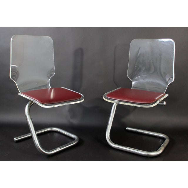 Mid-Century Modern Mid-Century Modern Set of Four Lucite Dining Chairs by Luigi Bardini for Hill For Sale - Image 3 of 10