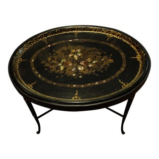 19th Century English Oval Tray on Custom Stand For Sale