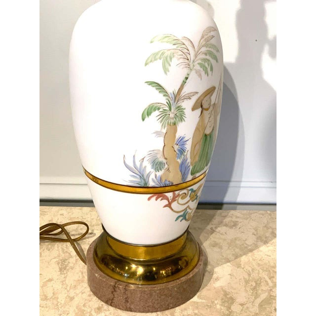 English Chinoiserie Bristol Opaline Glass Vases, Now as Lamps - a Pair For Sale - Image 4 of 9