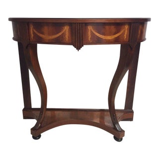 Inlaid Mahogany Demilune Console For Sale
