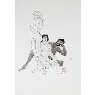 Rip Matteson Figurative Drawing of Three Male and Female Nude Figures in Ink, 20th Century 20th Century For Sale