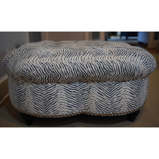 2010s Kravet Upholstered Contemporary Tufted Oversized Round Ottoman Walnut Legs Animal Zebra Blue Cream Nailheads For Sale - Image 5 of 11