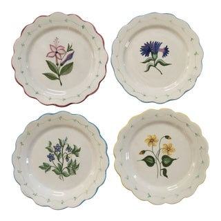 Portuguese Floral Scalloped Plates - Set of 4