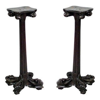 Pair of French Art Nouveau Walnut Low Pedestals For Sale