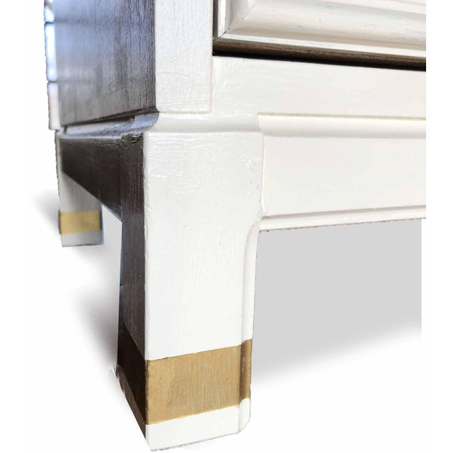 Gold 1960s Hollywood Regency White 2-Drawer Nightstands - a Pair For Sale - Image 8 of 9