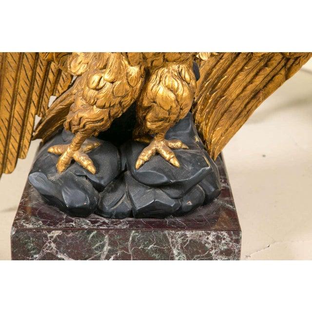 Marble Top Gilt Wood Carved Eagle Pedestal Table - Image 4 of 6