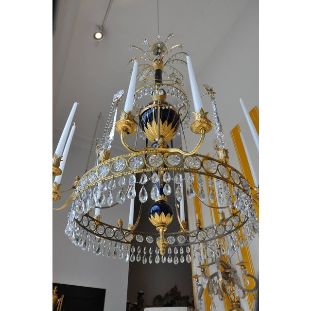 Period Early 19th Century Russian Neoclassical Cobalt and Ormolu Chandelier For Sale In Boston - Image 6 of 8
