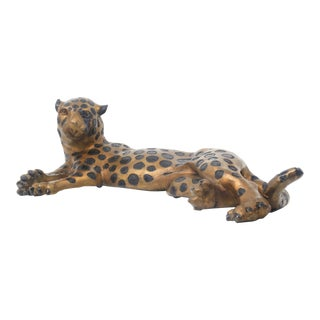 Vintage Large Bronze Lounging Cheetah For Sale