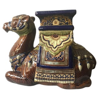 1960s Ceramic Camel Garden Seat/Side Table For Sale
