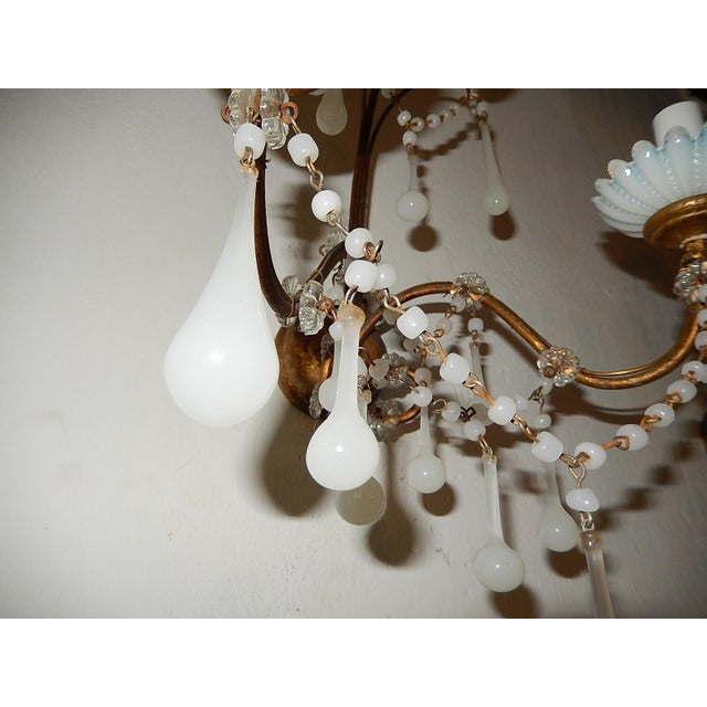 1920s French White Opaline Beads Beaded Sconces, circa 1920 For Sale - Image 5 of 10