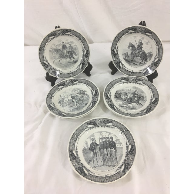 Sarreguemines French Military Life Plates - Set of 7 For Sale - Image 9 of 9