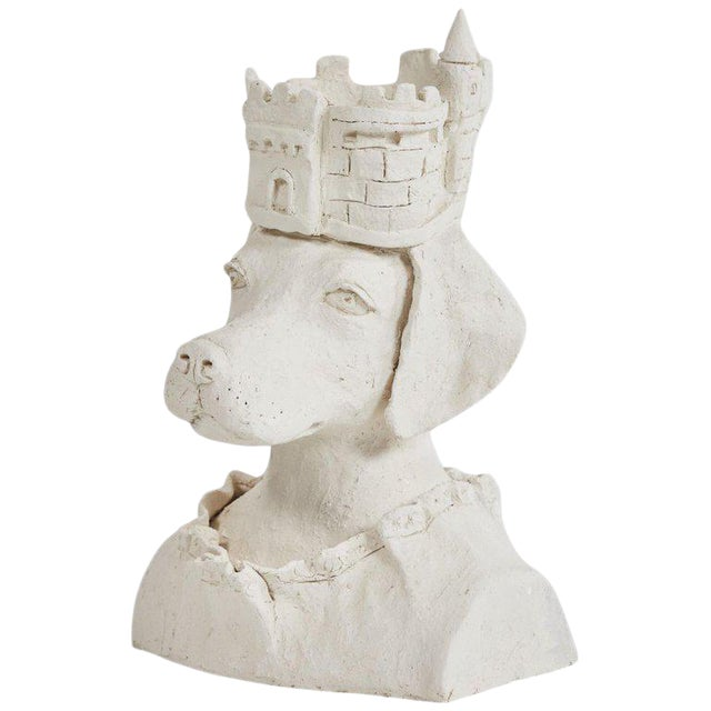 Dog With Crown Sculpture in Plaster For Sale